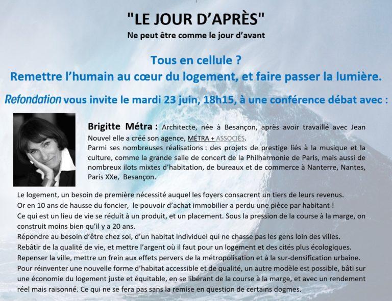 Visioconférence « LE JOUR D'APRÈS », mardi 23 juin 2020 18h15.